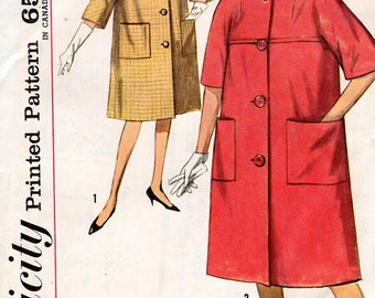 FREE US SHIP Original Uncut Simplicity 4813 Retro 1960's 60s Yoked Kimono Sleeve Coat Jackie Bust 36 Miss Sewing Pattern