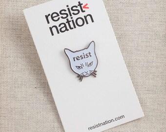 Resist Cat Lapel Pin