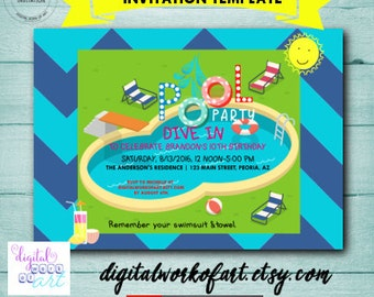 Pool Party Invitation Instant Download Swimming Pool Party Invitation,  Birthday, Editable PDF file,  DWOA-INVPOOL202-1 editable template
