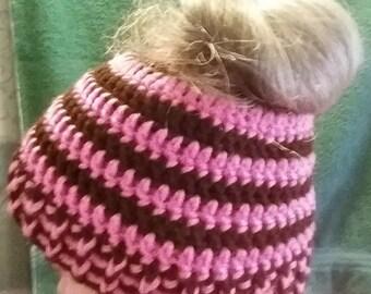 Messy bun beanie, pink, brown, hat, cap, ponytail, elastic