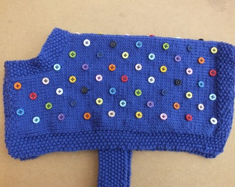 Handmade to measure dog coat embellished with multi-coloured buttons