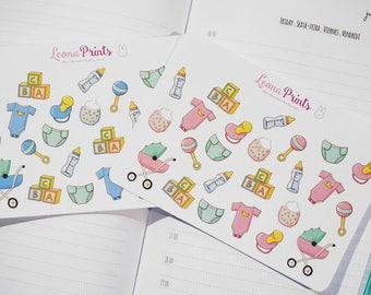 Baby Boy/Girl Set Assorted Planner Stickers | Stationery for Erin Condren, Filofax, Kikki K and scrapbooking