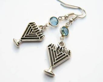 Menorah Birthstone Earrings, Personalized Hanukkah Earrings, Judaism Earrings, Jewish Jewelry, Religious Gift, Jewish Earrings