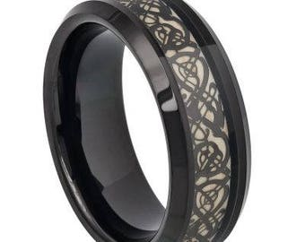 Black IP Celtic Cut-Out Design Inlay – 8mm