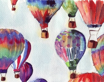 Watercolor Painting - Hot Air Balloons Illustration Watercolor - 8x10 Art Print - Limited Edition