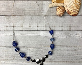 Sanibel Island Scallop Shell and Wire Wrapped Blue Beaded Necklace