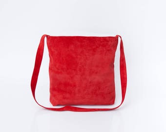 Red Leather Tote, Suede Leather Bag, Soft Leather Bag, Crossbody Tote, Lightweight Leather, Magnetic closer, Red Bag, Leather Carry Bag