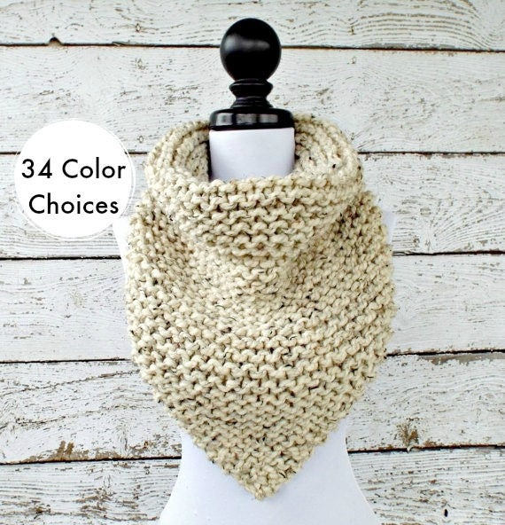Chunky Knit Cowl Chunky Knit Scarf - Oversized Bandana Cowl Oatmeal Cowl - Oatmeal Scarf Winter Accessories - 34 Color Choices
