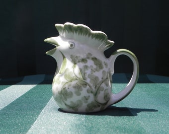 Vintage Andrea by Sadek, Green and White Porcelain, Rooster, Hen, or Chicken Small Novelty Pitcher