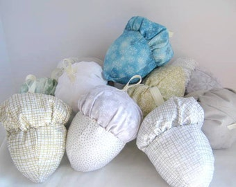 Small Winter Cloth Acorn Ornaments  Set of 4,  Four Fabric Acorn Ornies, Stuffed Acorn Ornaments