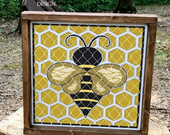 Honeybee on Honeycomb Block Design LL235 A -SVG DXF Ai Eps PNG Jpg Digital File for Commercial and Personal Use