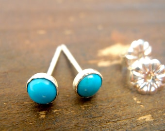 Turquoise Stud Earrings 4mm, sterling silver studs  Handcrafted