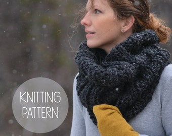 KNITTING PATTERN - ribbed knit cowl - summit cowl - instant download