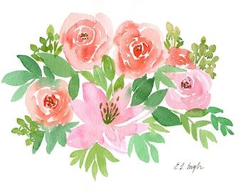 Floral painting, watercolor flowers, floral decor, original artwork, original watercolor, pink flowers, coral, roses, home decor, fine art