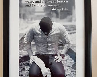 Come to me all you who are weary Photo Scripture, Printed on Glossy Photo Paper with Bible Verse, Christian Wall Decor