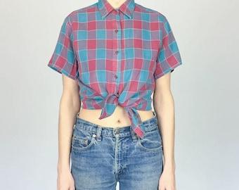 1970s Calvin Klein Linen/Cotton Plaid Shirt (M)