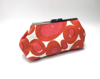 Red pink circle clutch, modern clutch, geometric clutch, linen clutch, resort clutch, gift for her, one of a kind