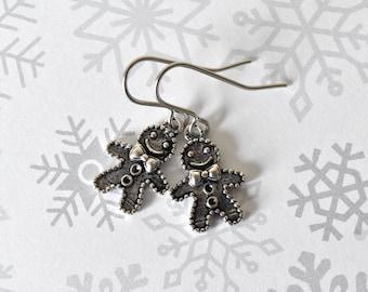 Gingerbread Man Earrings - Christmas Earrings - Gingerbread Man - Dangle Earrings - Cookie Earrings - Holiday Earrings - Festive Earrings