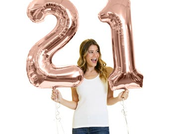 "Rose Gold Birthday Jumbo 34"" Mylar Number Balloon Kit - 16th 21st 30th 40th 50th Birthday balloons, 21st Birthday Decorations, 21 Party Gift"