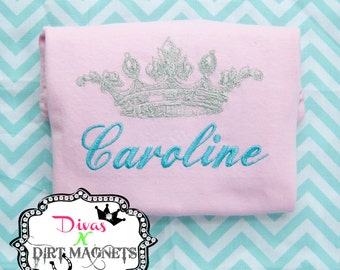 Monogrammed Name Crown Embroidered Shirt - Princess Crown Shirt - Queen Embroidered Shirt - Princess Hospital Going Home Shirt