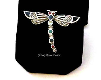 Dragonfly Brooch Silver Sterling Stones Marcasite/Marquesite Vintage Pin VJ122