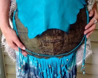 Snapping Turtle Totem Bag Turquoise Leather Fringed with Turquoise and Silver Beads Snapper Turtle Purse