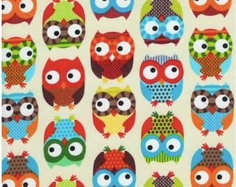 Bright Owl by Alice Kennedy Cream Fat Quarter cut, Timeless Treasures.