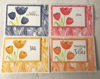 Handmade Set of 4 Note Cards
