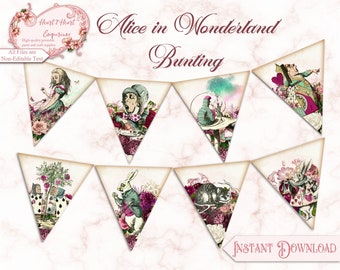 Alice in Wonderland Bunting, Printable Bunting, Wonderland Party Decoration, Mad Hatter Tea Party, Party Printable, Digital Download, Party