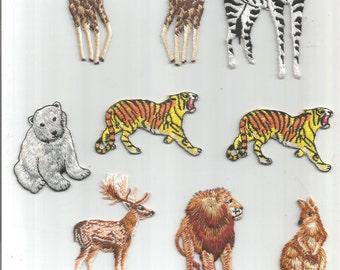 9 pc Tiger Lion Kangaroo Moose Polar Bear Zebra Giraffe Exotic Iron On Patch Applique 061716