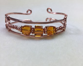 Handmade hammered copper wire cuff bracelet