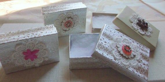 Set of 3 gift boxes - lace flower box- unique gift ideas -  Victorian design -  romantic keepsake  - button glitz decor - dragonfly
