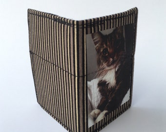 Bifold wallet, slim wallet, small bifold wallet, handmade wallet, thin wallet, cat wallet