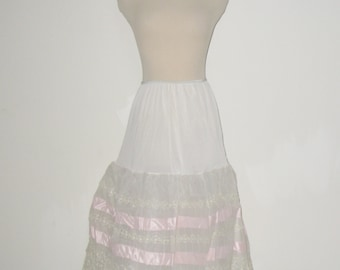 60s Vintage Tiered Lace & Ribbon Crinoline