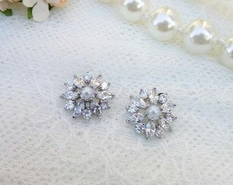 Crystal zircon earrings, Sparkly earrings, rhinestone earrings, wedding earrings,  bridal earrings, wedding jewelry,  zirconia earrings