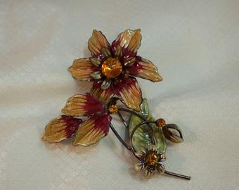 c1980's Fantasy Enameled Flower Brooch, Clematis Flower Enameled Brooch