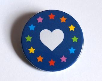 Love Europe Badge - 38mm pin button badge, unity EU Brexit design