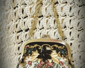 After Life Accessories: repurposed vintage floral tapestry clutch metal clasp purse