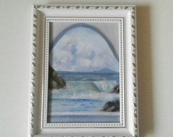 Original oil painting - Window view seascape