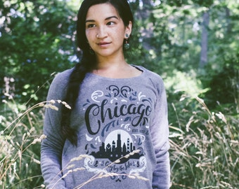 City by the Lake Chicago Flourish Triblend Grey Ladies Off-the-Shoulder Sweatshirt