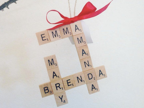 Whole Family CUSTOM crossword tree ornament, shabby chic, scrabble christmas, scrabble fan, jingle bells, cute ornament
