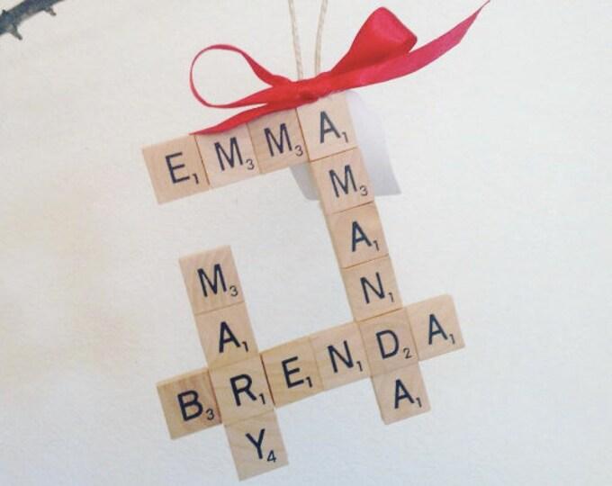 Whole Family CUSTOM crossword tree ornament, shabby chic, scrabble christmas, scrabble fan, jingle bells, cute ornament