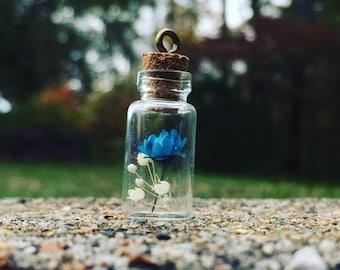 Mini Dry Flower Bottle Charm Blue Pink White Green Yellow Flower charms