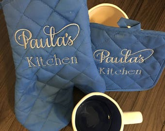 Personalized Potholder Set/Baking Set/Add on Set/Oven Mitt/Bridal Shower Gift/Monogram/Unique Wedding Gift/Kitchen Shower Set/Custom Hot Pad