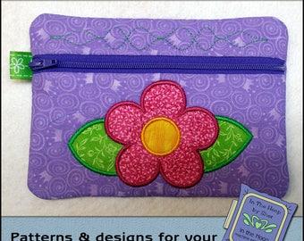 ITH Simple Flower Zipper Bag - Fully Lined - In The Hoop Zipper Bag - Flower Zipper Bag - Embroidery Design - 5 x 7 Hoop