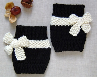 New KNITTING PATTERN-Lauren Bootcuffs with Bow Ties Easy Quick Knit Beginner Pattern PDF Digital File Instant Download