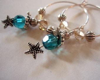 Earrings - Silver Starfish Summer Earrings - Beach-Style Nautical Dangle Hoop Earrings