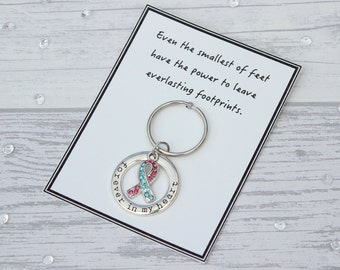 Baby Loss Gift, Miscarriage Gift, Baby Loss Keyring, Baby Memorial Keepsake, Pregnancy Loss Remembrance Gift, Forever In My Heart Keychain
