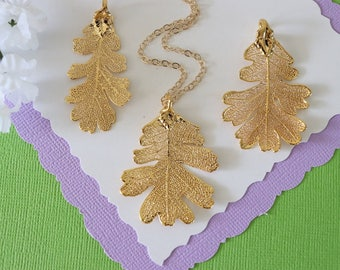 Gold Lacey Oak Leaf Necklace, Real Leaf Necklace, Oak Leaf, Gold Leaf Necklace, Long Leaf, Leaf Pendant LC223