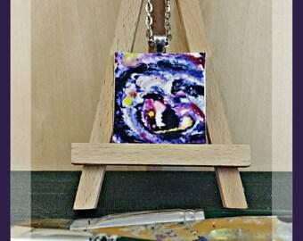Nebula I Original Painting Print Pendant Necklace
